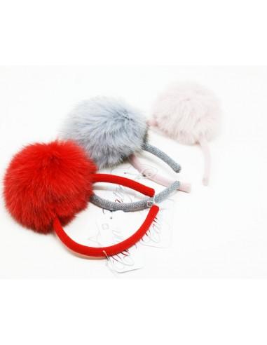 Cerchietto ricoperto in lana con pon...